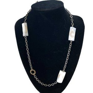 NWT Coach circle station two tone necklace F90295